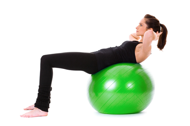 Exercise Ball Crunch six-pack abs